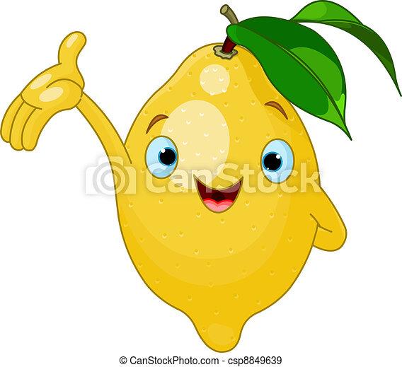 citron, dessin animé, gai, caractère - csp8849639