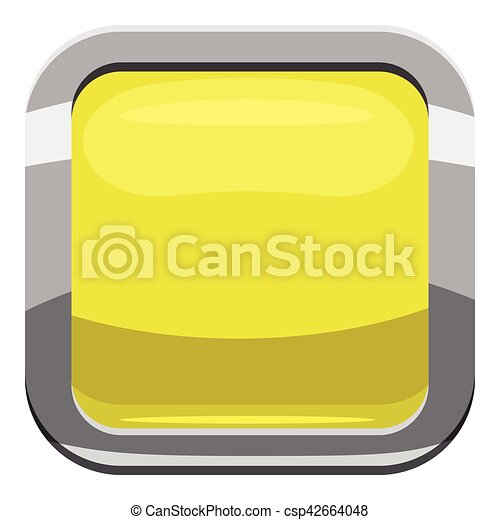 Citron square button icon, cartoon style - csp42664048