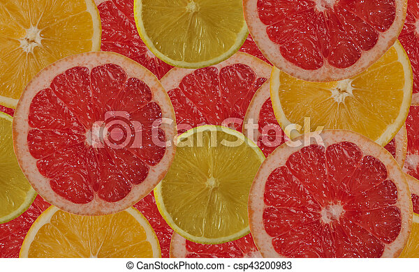 citrus background - lemon orange grapefruit slices - csp43200983