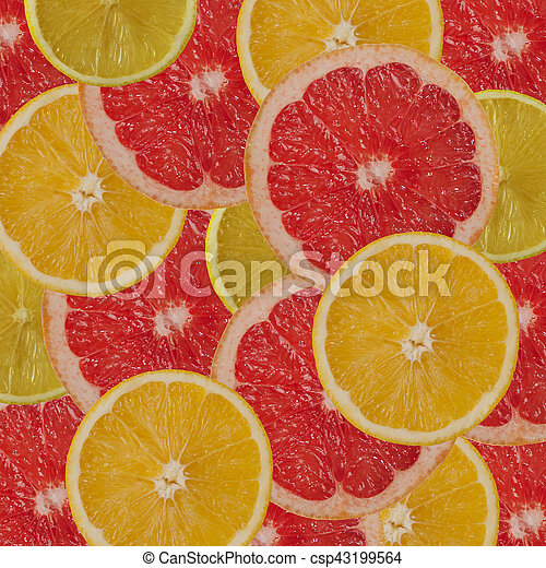 citrus background - lemon orange grapefruit slices - csp43199564
