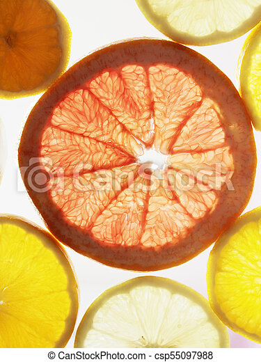 Citrus fruits shine through the light. Citrus fruits shine through the light - csp55097988