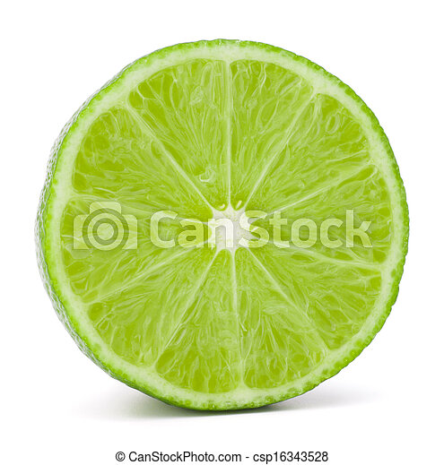 Citrus lime fruit half isolated on white background cutout  - csp16343528
