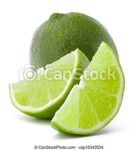 Citrus lime fruit isolated on white background cutout  - csp16343534