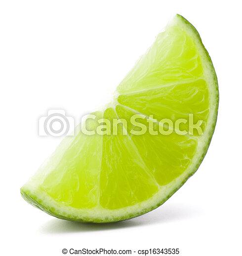 Citrus lime fruit segment isolated on white background cutout  - csp16343535