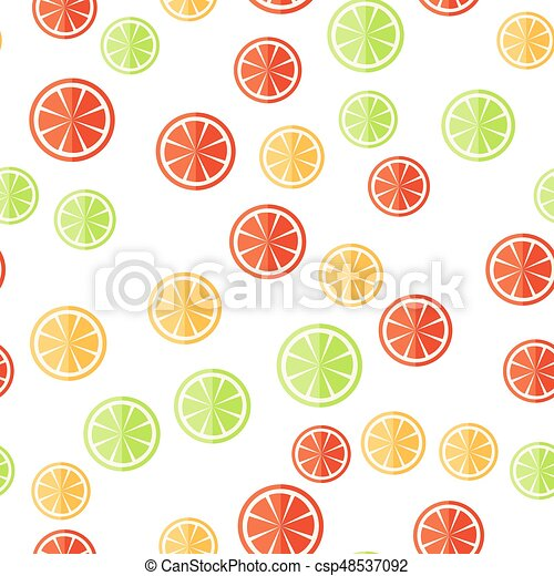 citrus, pattern., seamless, coupé, fruit, fond, blanc - csp48537092