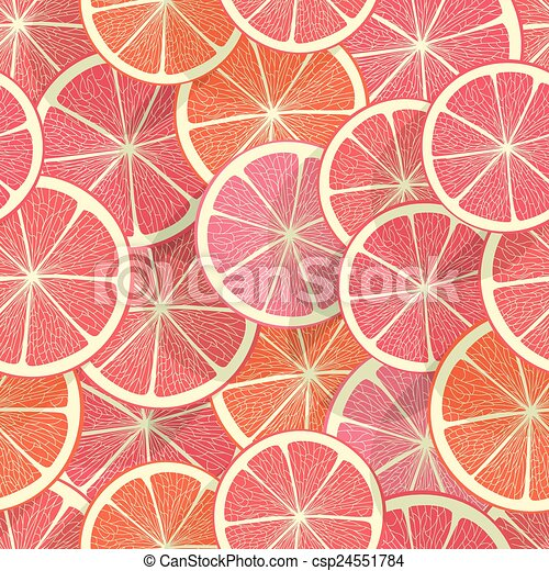 Citrus seamless background. Grapefruit - csp24551784