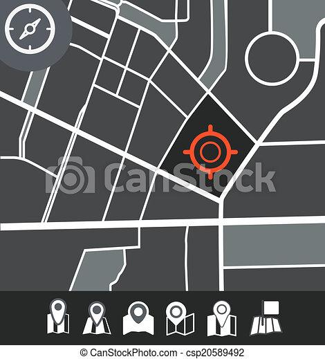 città, astratto, illustrazione, mappa - csp20589492