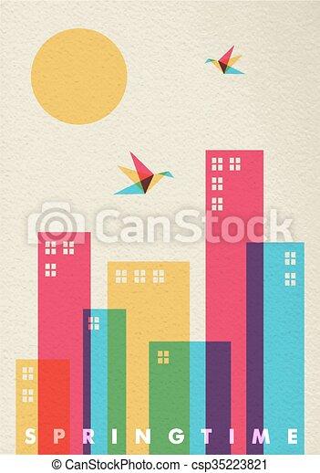città, concetto, diversità, stagione primaverile, colori, tempo - csp35223821