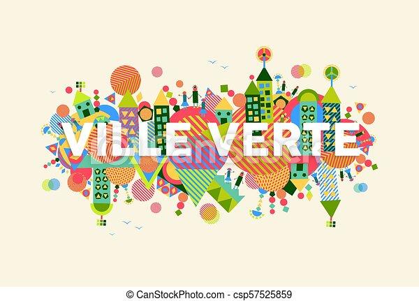 città, concetto, lingua, francese, verde, illustrazione - csp57525859