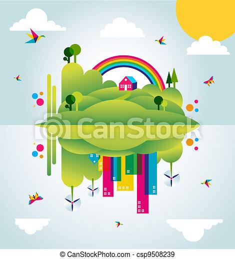 città, concetto, primavera, illustrazione, verde, tempo, felice - csp9508239