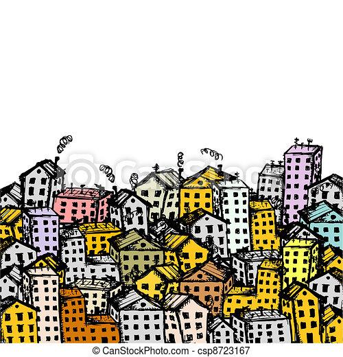 città, disegno, tuo, fondo, schizzo - csp8723167