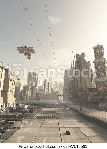 città, futuro, strada, astronave - csp27015503