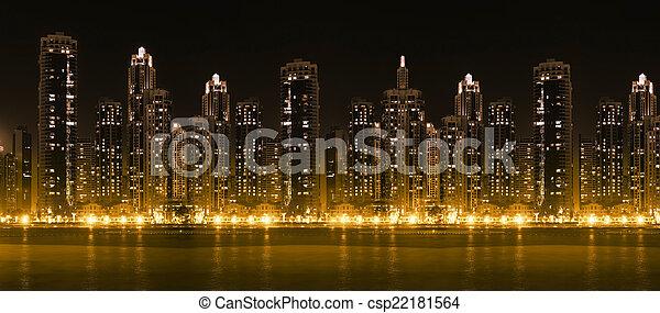 città, grattacieli, moderno, hight, orizzonte, illuminato - csp22181564