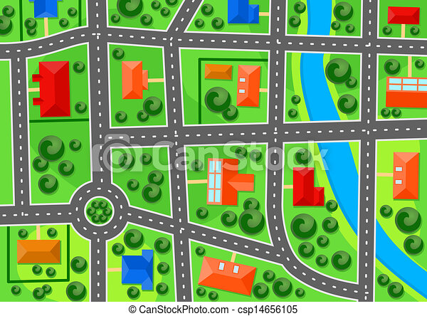 città, mappa, sobborgo - csp14656105