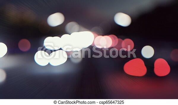 città, movement., luci, automobili, interpretazione, attraverso, defocused, fondo, andare, night., 3d - csp65647325