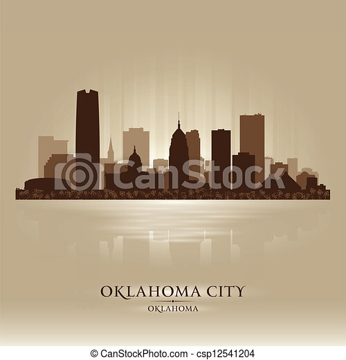 città, oklahoma, silhouette, orizzonte - csp12541204