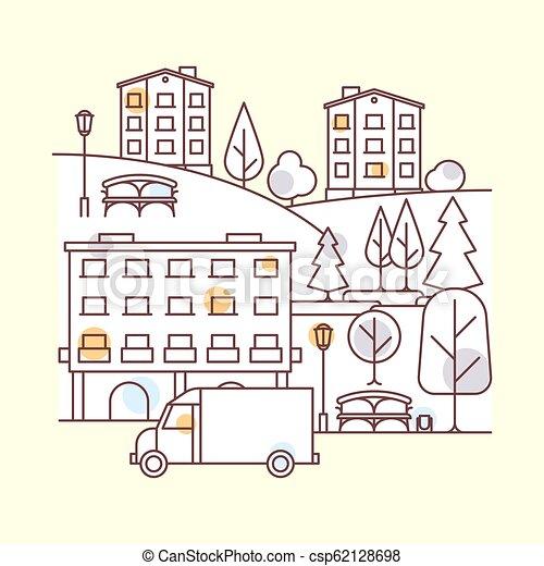 città, paesaggio, illustrazione - csp62128698