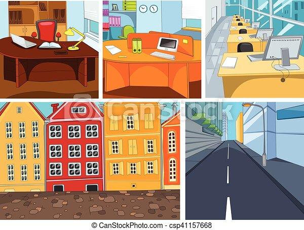 Città Set Ufficio Vettore Backgrounds Cartone Animato Urbano