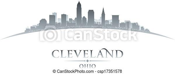 città, silhouette, orizzonte, fondo, cleveland, ohio, bianco - csp17351578