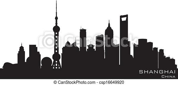 città, silhouette, sciangai, orizzonte, vettore, porcellana - csp16649920