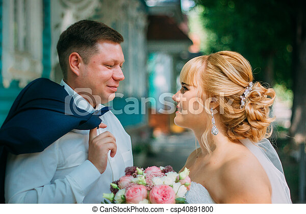 città, sposo, fondo, sposa - csp40891800