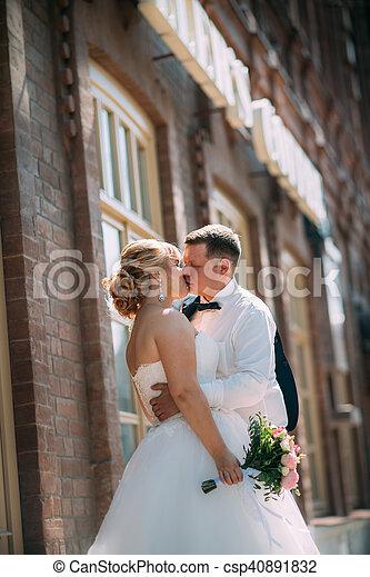 città, sposo, fondo, sposa - csp40891832