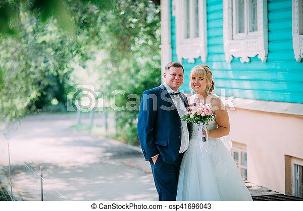 città, sposo, fondo, sposa - csp41696043
