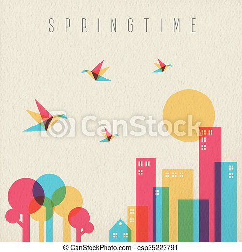 città, stagione primaverile, foresta albero, tempo - csp35223791