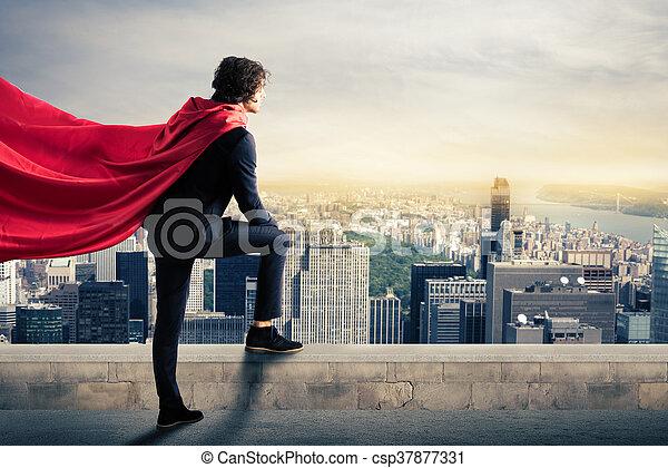 città, superhero - csp37877331