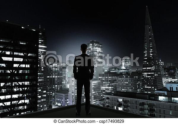 città, uomo, notte - csp17493829