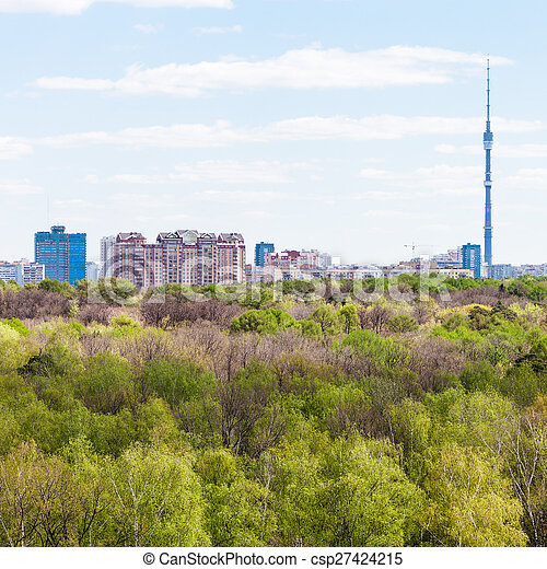 city and green woods in spring day - csp27424215