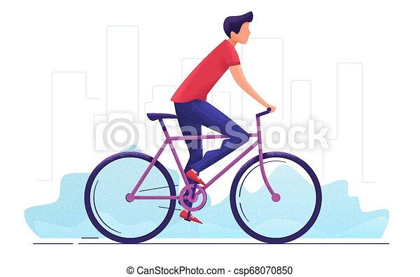 city., autour de, jeune, illustration, vecteur, cyclisme, homme - csp68070850