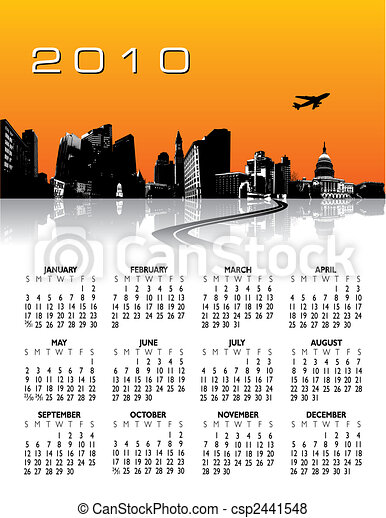 City Background Calendar - csp2441548