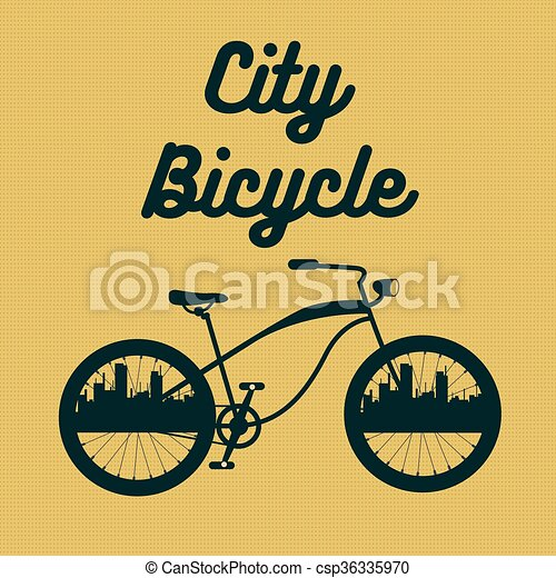 City Bicycle. Vintage Bike Background. Vector illustration - csp36335970