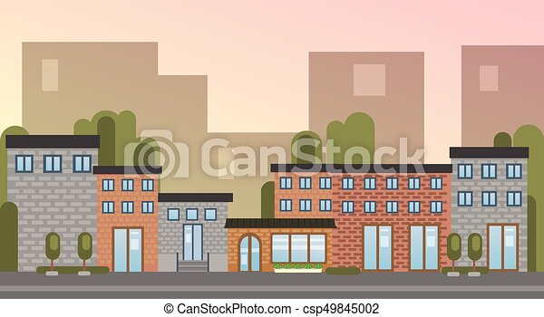 City Building Houses Town View Silhouette Skyline Background Flat