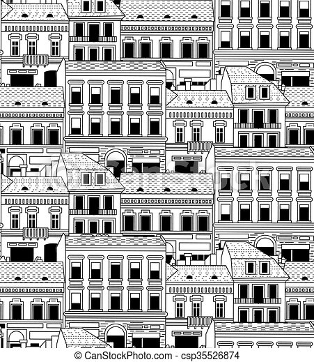 City Buildings Down Town Black And White Seamless Pattern