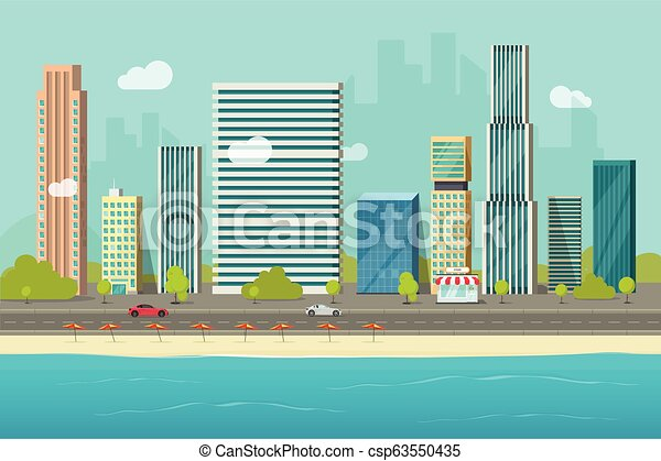 City buildings from sea beach view vector illustration, flat cartoon high city skyscraper buildings on seafront, modern town landscape, urban cityscape or shore coast cityscape clipart - csp63550435