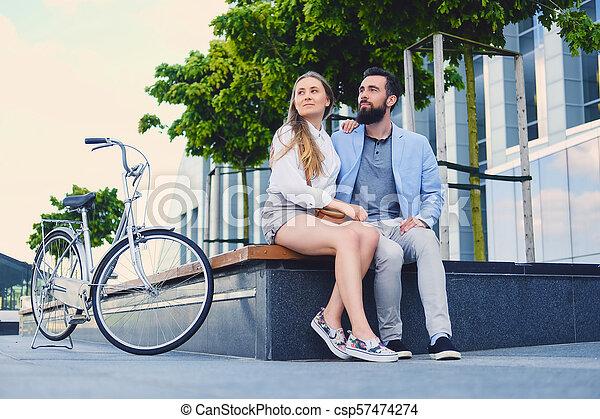 city., couple, après, date, tour bicyclette - csp57474274
