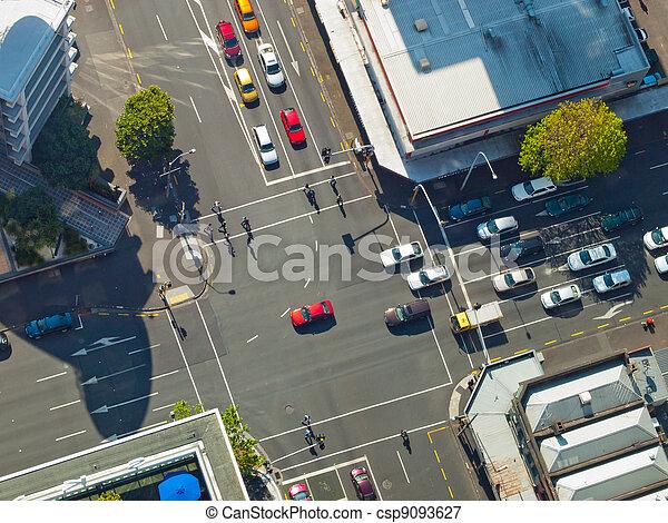 City crossroad scene - csp9093627