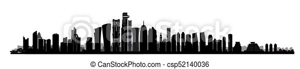 City Doha skyline. Arabic Urban cityscape. Qatar skyscraper building - csp52140036