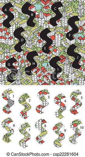 city:, game., visuel, solution, morceaux, layer!, caché, allumette - csp22281604