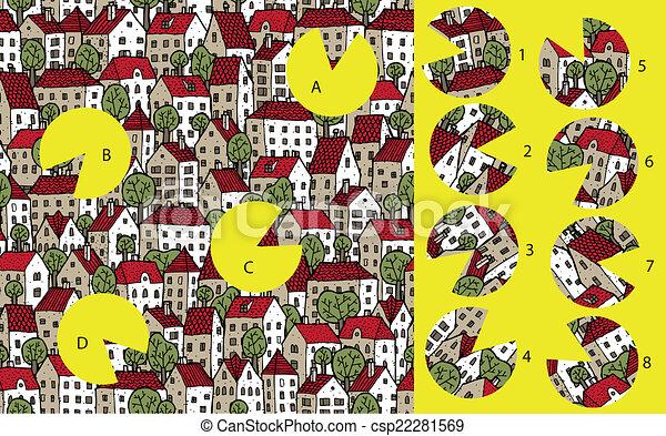 city:, game., visuel, solution, morceaux, layer!, caché, allumette - csp22281569
