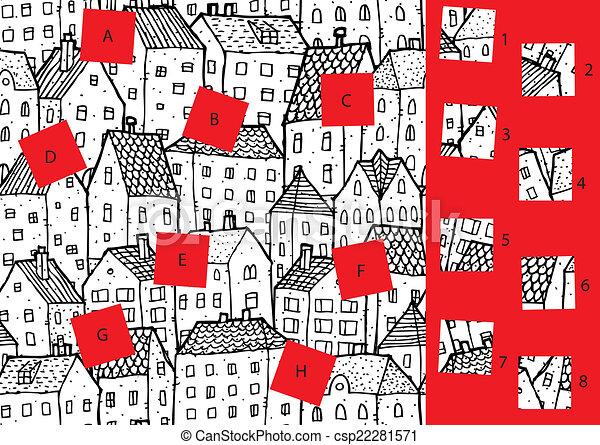 city:, game., visuel, solution, morceaux, layer!, caché, allumette - csp22281571
