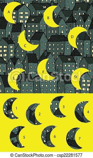 city:, game., visuel, solution, morceaux, layer!, nuit, caché, allumette - csp22281577
