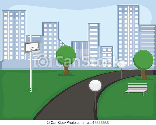 City garden vector landscape. Drawing art of garden - cartoon ...