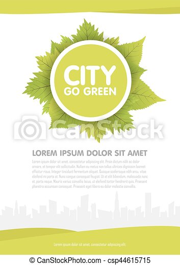 City Go Green Vector Flyer Template Illustration Vector Clip Art