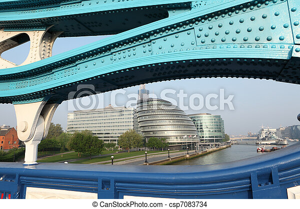 City Hall from Tower Bridge in London England - csp7083734