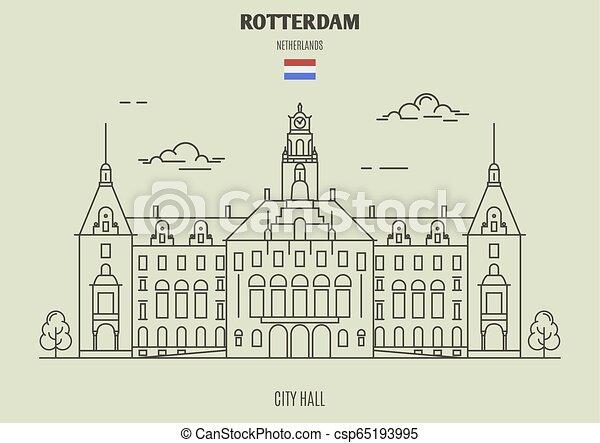 City Hall in Rotterdam, Netherlands. Landmark icon - csp65193995