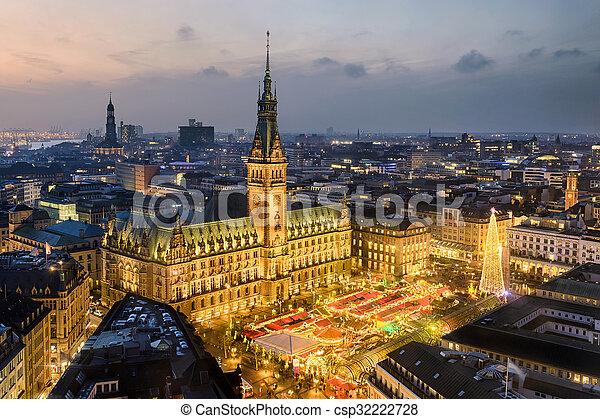 Hamburg Christmas Market 2021 City Hall Of Hamburg Germany Aerial View Of The City Hall With The Christmas Market In Hamburg Germany Canstock