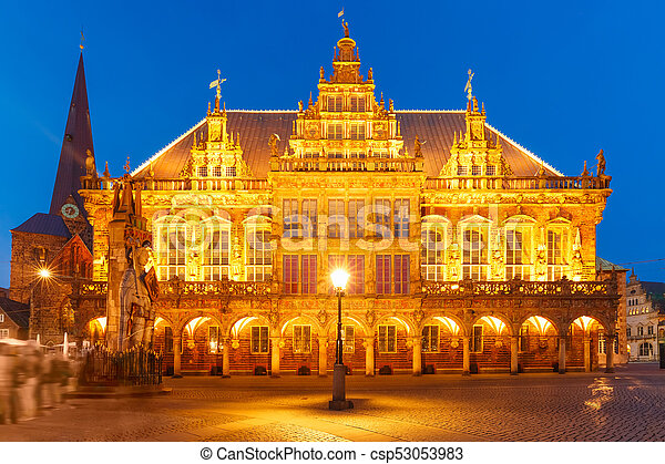 City Hall on Market Square in Bremen, Germany - csp53053983